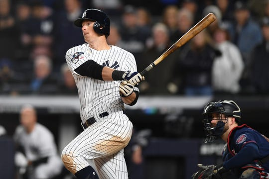 New York Yankees vs. Minnesota Twins in Game 1 of the ALDS at Yankee Stadium on Friday, October 4, 2019. NYY #26 DJ LeMahieu drives in three runs in the seventh.