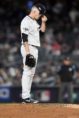 New York Yankees vs. Minnesota Twins in Game 1 of the ALDS at Yankee Stadium on Friday, October 4, 2019. NYY #65 James Paxton reacts after giving up a homerun in the first inning.