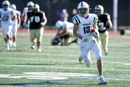 Ramapo football at River Dell on Saturday, October 5, 2019. R #13 Sean Clapp after making a catch in the third quarter.