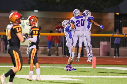 The Las Cruces Bulldawgs face off against the Centennial Hawks at the Field of Dreams in Las Cruces on Friday, Oct. 4, 2019.