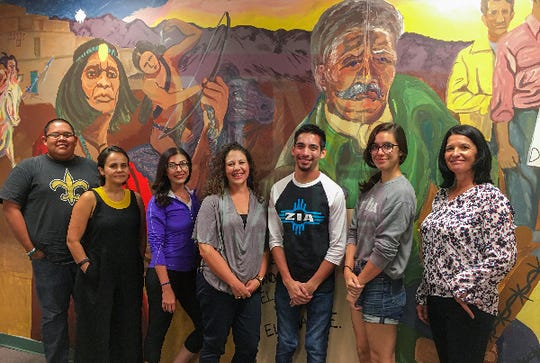 New Mexico State University Borderlands and Ethnic Studies graduate certification students stand with Dulcinea Lara, Associate Professor in the Department of Criminal Justice and Director of Ethnic Studies. From left, Reymond Manuelito, Dulcinea Lara, Stevie Paz, Natalia Martinez, Carlos Avila, Haley Stewart, Delia Torres. Not pictured: Teaching Assistant, Cynthia Wise.