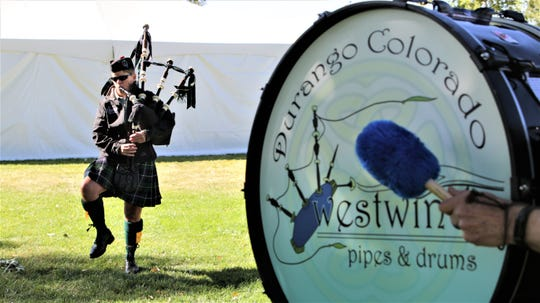 Westwind Pipes and Drums band from Durango, Colorado, performs, Saturday, Oct. 5, 2019, during the Aztec Highlands Games and Celtic Music Festival.