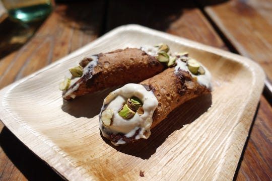 Cannoli with mascarpone, grapefruit preserves, chocolate and pistachio at Pa'La in Phoenix.
