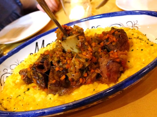 Osso buco with gremolata and risotto Milanese at Marcellino Ristorante in Scottsdale.