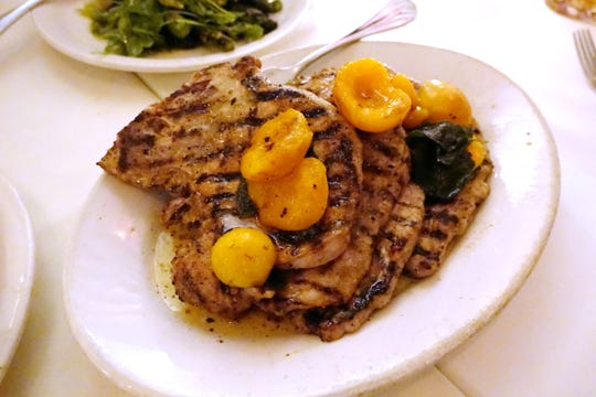 Thin cut pork chops with apricot, Kelton Lane mustard, brown butter and sage at Tratto in Phoenix.
