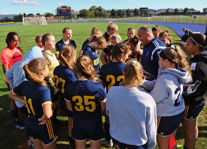 Elco head coach Derek Fulk talks to his players prior to the start of a game between the Elco Raiders and Solanco Golden Mules Oct. 4. at Elco High School. Elco captured its fifth straight Section 3 tItle on Tuesday night with an 8-1 win vs. Lancaster Mennonite.