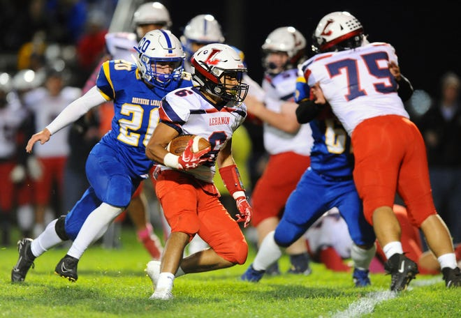 Lebanon's Nathaniel Portes (6) looks for room to run during first quarter action in a game between the Northern Lebanon H.S. Vikings and the Lebanon H.S. Cedars played Friday Oct.4,2019 at Northern Lebanon's Frederick L.Gahres Stadium.