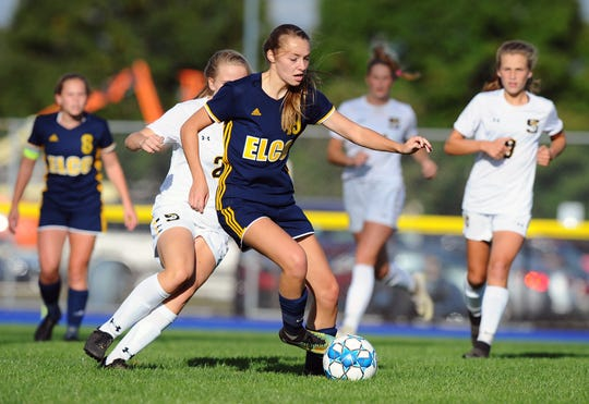 Elco's Natalie Swingholm (19) controls the ball in front of the Solanco goal during first half action in a game between the Elco Raiders and Solanco Golden Mules Oct. 4. at Elco High School.