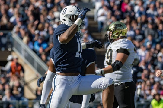 Oct 5, 2019; University Park, PA, USA; Penn State Nittany Lions linebacker Micah Parsons (11) reacts after a sack against the Purdue Boilermakers during the fourth quarter at Beaver Stadium. Mandatory Credit: John Jones-USA TODAY Sports