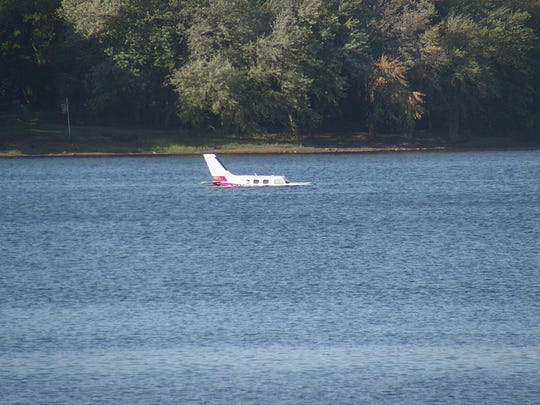 A small plane remained in the Susquehanna River on Saturday after it crash-landed en route to HIA on Friday.