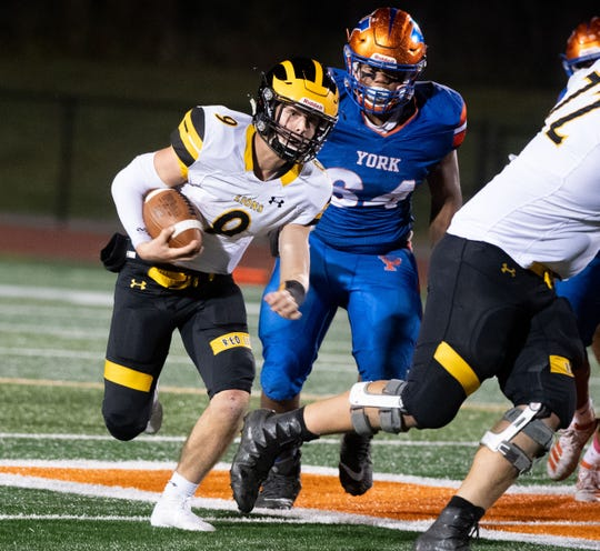 Nic Shultz (9) has room to run during the YAIAA football game between York High and Red Lion at Smalls Athletic Field, Friday, October 4, 2019. The Bearcats defeated the Lions 18-0.