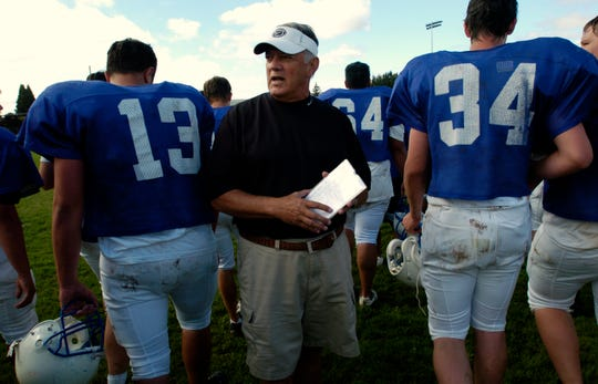 McNary High School's varsity football team heads for a break after huddling up with Head Coach Tom Smythe during practice as the team gets ready for the season Thursday, August 24, 2006.