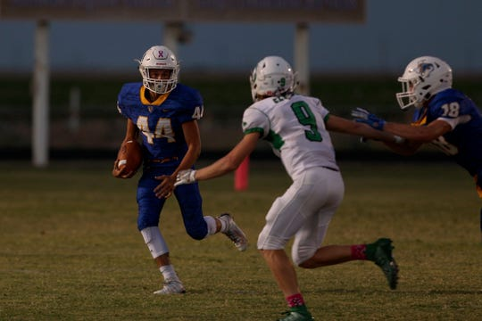 Veribest's Chance Ruble, left, looks for running room against Blackwell on Friday, Oct. 4, 2019. Blackwell won the game 52-6.