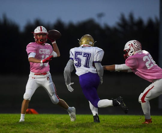 Chamberlain running back and linebacker Thaddeus Wisenbaugh (16) passes the ball during the game against Winner at home on Friday, Oct. 4, 2019.