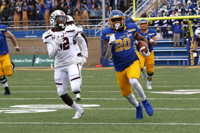 South Dakota State's Pierre Strong Jr. (20) sprints past Southern Illinois' Joe Patterson during the third quarter of the Jackrabbits' Hobo Day 28-10 victory over the Salukis Saturday afternoon at Dana J. Dykhouse Stadium in Brookings.