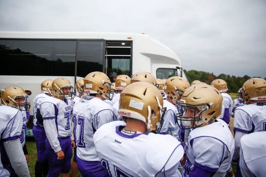 Winner arrives at Chamberlain high school before the game on Friday, Oct. 4, 2019.