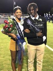 2019 Staunton High School homecoming queen Csayjah Whitelow and king Kaleb Hall.