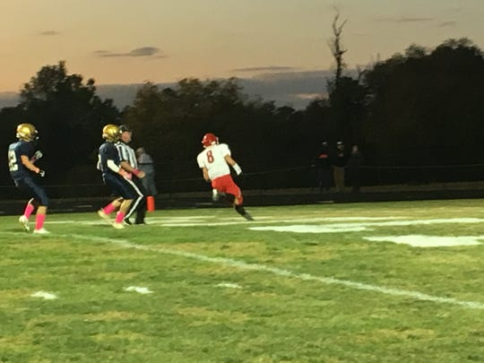 Zac Smiley scores the first of his three touchdowns for Riverheads.