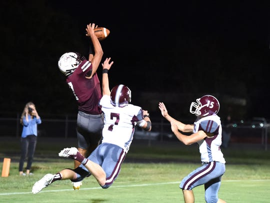 Stuarts Draft's Freddie Watkins out jumps Luray's Dalton Griffith for a touchdown catch Friday.