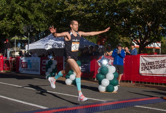 St. George local Aaron Metlet finishes second in the St. George Marathon Saturday, Oct. 5, 2019.