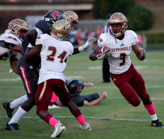 Florida High's Ahmari Harvey returns a kickoff as the Seminoles beat NFC 60-13 on Friday, Oct. 4, 2019.