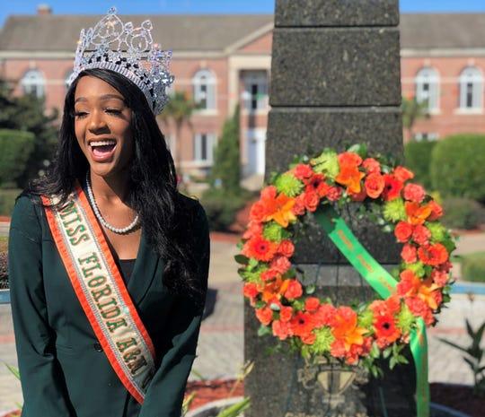 Miss Florida A&M University Kyra Freeman celebrates Founders Day on Thursday, Oct. 3, 2019.