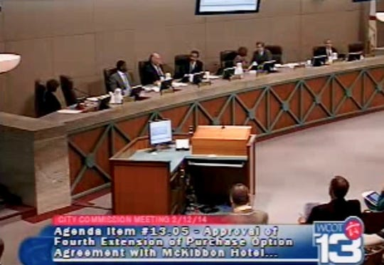 Then-Tallahassee City Commissioner Scott Maddox's chair, second from left, sits empty as his colleagues debate a proposed new downtown hotel on Feb. 12, 2014.