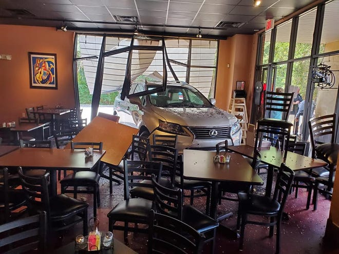 The scene at Habana's Boardwalk Saturday after a Lexus crashed into the eatery. afternoon.