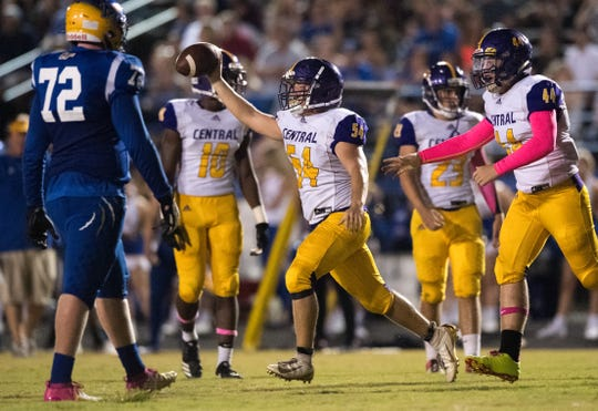 Fort Pierce Central's Kameron Schulz celebrates a fumble recovery in the second quarter against Martin County during the high school football game Friday, Oct. 4, 2019, Martin County High School in Stuart.