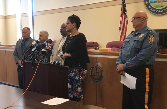Cumberland County Prosecutor Jennifer Webb-McRae and Bridgeton police Chief  Michael Gaimari (right) take a question at a briefing Friday on the search for Dulce Maria Alavez Perez. Also present, left to right, are county Chief of Detectives Richard Necelis, county First Assistant Prosecutor Harold Shapiro, and Bridgeton Mayor Albert Kelly.