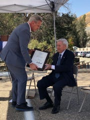 Rep. Kevin McCarthy honors Tule River Water Master Richard Shiff at an Oct. 1 renaming ceremony. Success Dam's name was changed to the Richard L. Schafer Dam following a congressional resolution authored by McCarthy and signed into law by President Donald Trump Aug. 9, 2019.