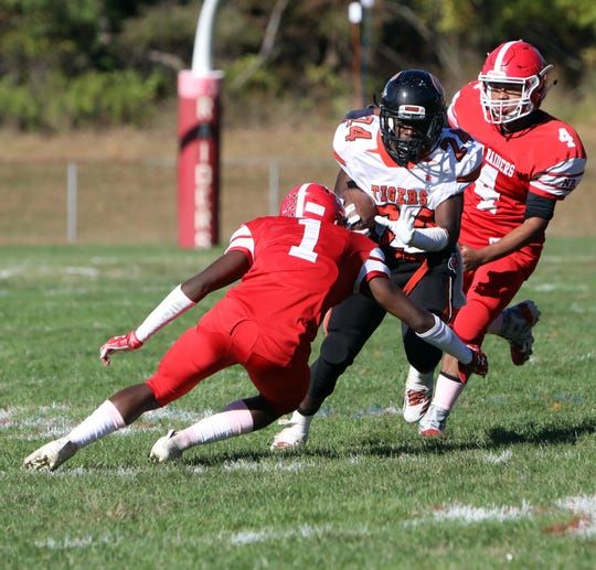 Spring Valley's Jaquan Chambers carries the ball against North Rockland during their football game Oct. 5, 2019 at North Rockland High School. Spring Valley won, 27-6.