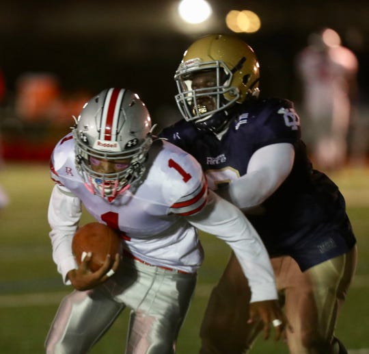 Yonkers Brave's Ryan Veras in action during a football game against Yonkers Force at Roosevelt High School in Yonkers on Friday, October 4th, 2019.