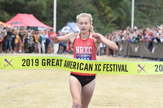 Katelyn Tuohy wins the Great American Cross Country Festival top girls race in Cary, North Carolina Oct. 5, 2019, running 16:22.8 to break the girls course record by more than 13 seconds.