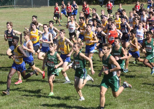 The start of the boys Varsity Division 1 race at the annual Brewster Bear Classic at Brewster High School 