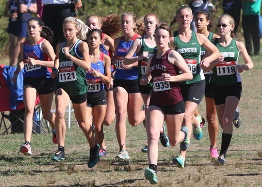 The start of the girls Varsity Division 1 race at the annual Brewster Bear Classic at Brewster High School 
