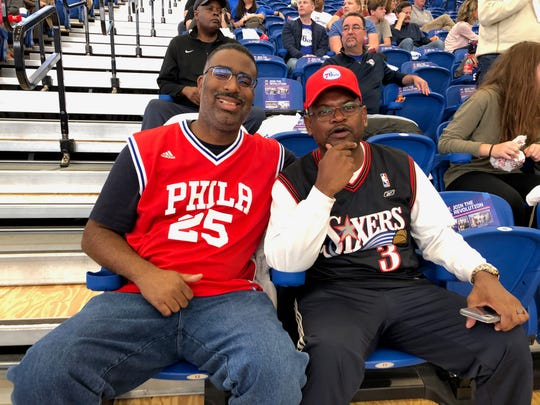"Mark Spencer (left) and Joseph Wright pose in the front row of 76ers Fieldhouse for the team's intersquad scrimmage Saturday Oct. 5. ""I'm looking for the finals,"" Wright said."