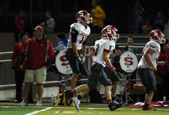 Sheridan celebrates after stopping a Philo 2-point (and game-tying) conversion in last week's 21-19 win. The Generals aim to take the next step towards a MVL title, but first must overcome a visit by Tri-Valley on Friday night.