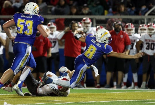Philo's Hunter Adolph lunges for extra yards against Sheridan. Adolph was the catalyst for the Electrics' offense, accounting for more than 2,600 total yards and 30 touchdowns.