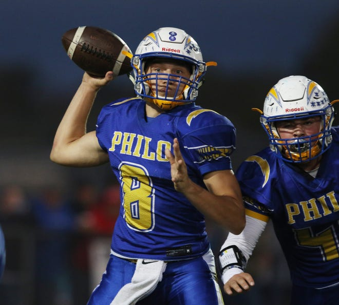 Philo's Hunter Adolph readies a pass against Sheridan. Adolph was named Muskingum Valley League Co-Player of the Year on Monday by league coaches.