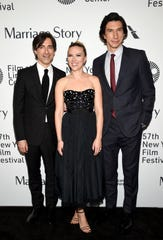 "Vassar College graduate Noah Baumbach, director of ""Marriage Story,"" poses with stars Scarlett Johansson, middle, and Adam Driver, right, in October."