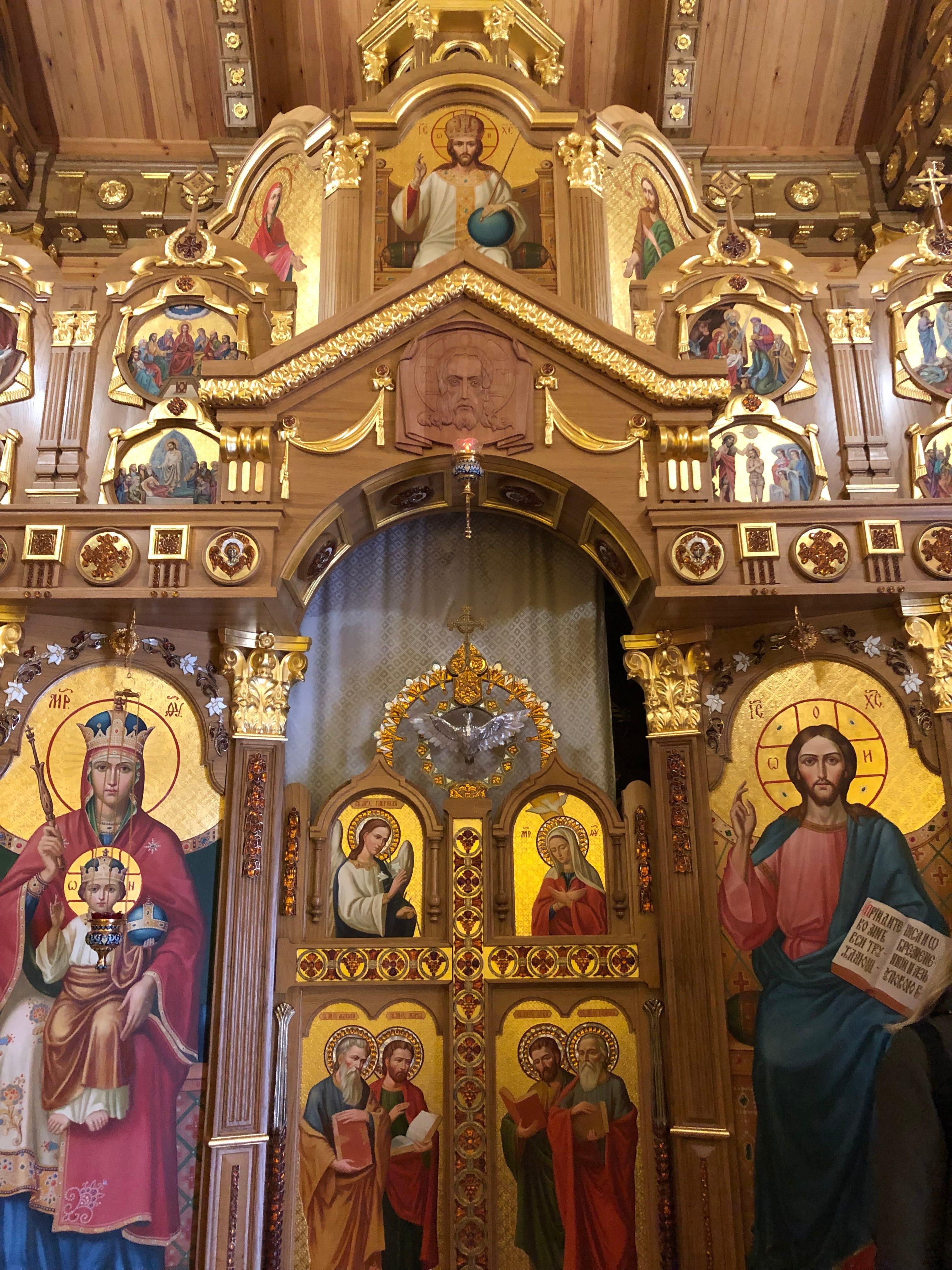 A view inside the church former Ukraine President Viktor Yanukovych built at his former residence outside Kyiv, on Oct. 4, 2019.
