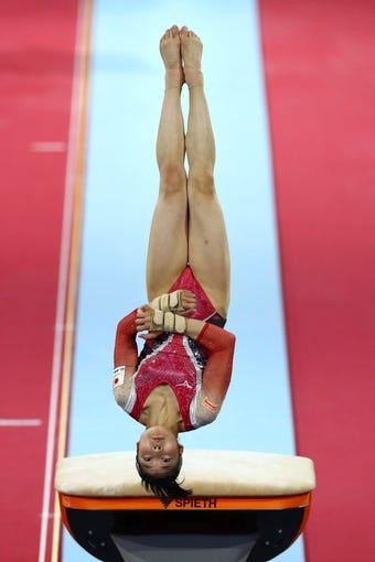 Akari Matsumura of Japan flips during her vault on Saturday.