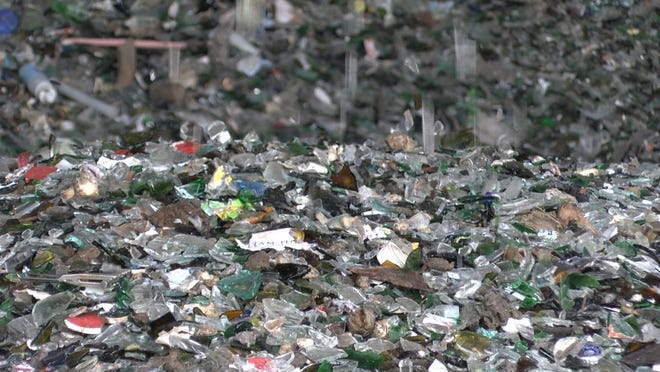 Recycled glass pieces are shown at the Northern Ocean Recycling Center in  Lakewood Monday, September 30, 2019.