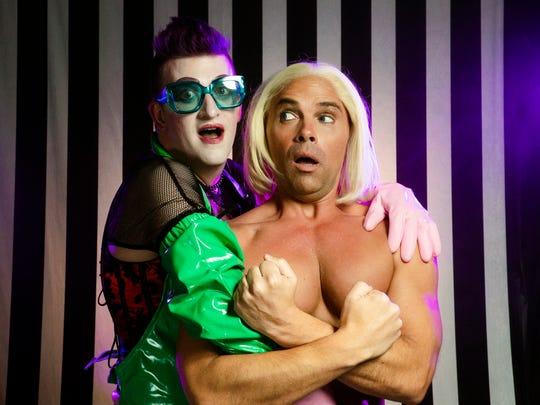Adam Minton (left) is Frank N. Furter and Joey Chapman is his creation, Rocky.