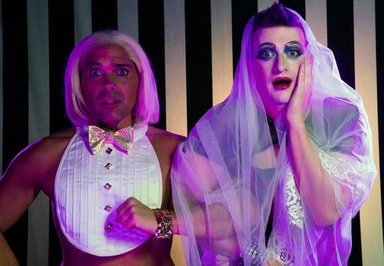 """Joey Chapman (left) and Adam Minton in BPA's """"Rocky Horror Show."""""""