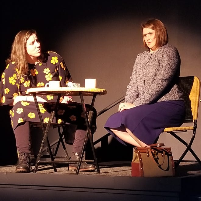 """Heather (Ronni Wolfe, right) meets her former tormentor, Carla (Hadassah Nelson) in """"Wasp."""""""