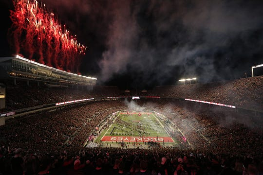 Ohio State takes the field before Saturday night's game with Michigan State.