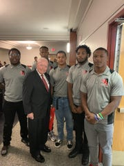 General Al Gray with Rahway football players.