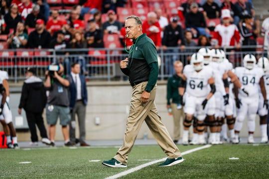 Michigan State head coach Mark Dantonio during warmups before the Ohio State game at Ohio Stadium in Columbus, Ohio, Saturday, Oct. 5, 2019.